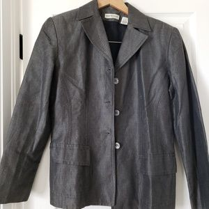 Ann Taylor linen cotton blend grey blazer size 4